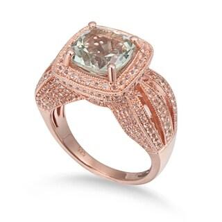Suzy Levian Sterling Silver 4.9 TCW Green Amethyst Ring