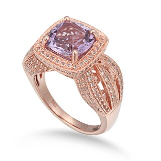 Suzy Levian Sterling Silver 4.59 cttw Pink Amethyst Ring