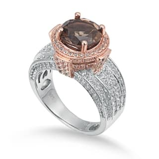 Suzy Levian Two-Tone Sterling Silver Round 4.85 cttw Smoky Quartz Ring - Brown https://ak1.ostkcdn.com/images/products/10845597/P17886322.jpg?impolicy=medium
