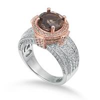 Suzy Levian Two-Tone Sterling Silver Round 4.85 cttw Smoky Quartz Ring - Brown