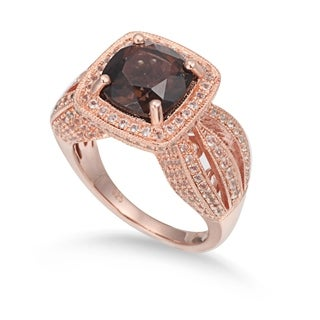 Suzy Levian Sterling Silver 4.5 cttw Smoky Quartz Ring - Brown