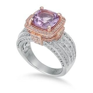Suzy Levian Sterling Silver Cushion Pink Amethyst 5.05 cttw Ring
