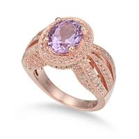 Suzy Levian Sterling Silver 4.52 TCW Purple Amethyst Oval Ring - Pink