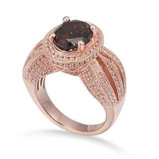 Suzy Levian Sterling Silver 4 cttw Smoky Quartz Oval Ring - Brown https://ak1.ostkcdn.com/images/products/10845615/P17886331.jpg?_ostk_perf_=percv&impolicy=medium