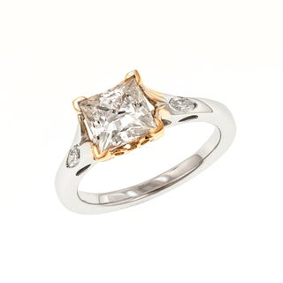 18k White and Rose Gold Vaila MaeVona Cubic Zirconia 1/6ct TDW Diamond Semi Mount Engagement Ring (VS1-VS2, G)