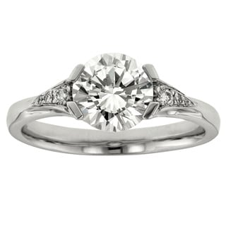 18k White Gold Cubic Zirconia 1/10ct TDW Diamond Semi Mount Ring (I1-I2, H-I)