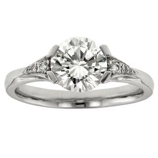 18k White Gold Cubic Zirconia 1/10ct TDW Diamond Semi Mount Ring (I1-I2, H-I)