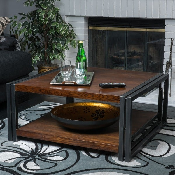 Mayfair Dark Oak Wood Coffee Table by Christopher Knight Home
