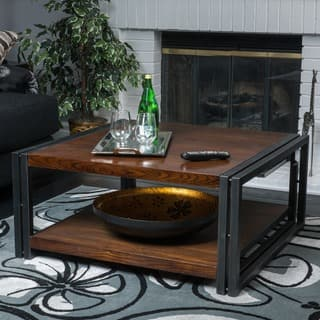 mayfair dark oak wood coffee table by christopher knight home - Square Coffee Tables