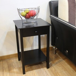 Adeco Black Finish Square Accent Drawer Table