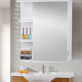 Adeco Accent White Finish Mirror Wall Cabinet