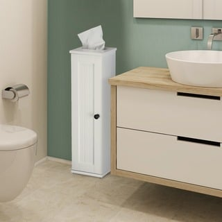 Adeco White Finish Single Door Wall Cabinet