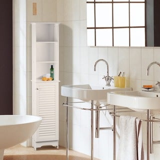 Adeco White Finish Storage Cabinet