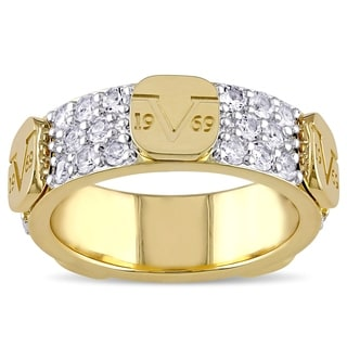 V1969 ITALIA Raised Logo White Sapphire Eternity Ring in 18k Yellow Gold Plated Sterling Silver