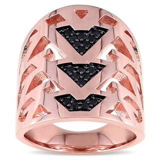 V1969 ITALIA Black Sapphire Openwork Ring in 18k Rose Gold Plated Sterling Silver