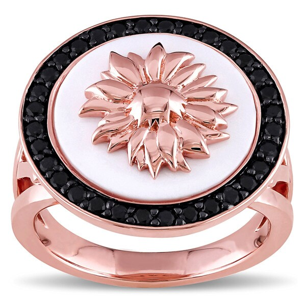 V1969 Italia Black Sapphire and White Agate Sunflower Ring in 18k Rose Gold-plated Sterling Silver