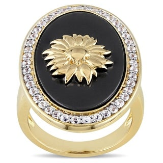Miadora Black Agate and White Sapphire Sunflower Ring in Yellow Plated Sterling S