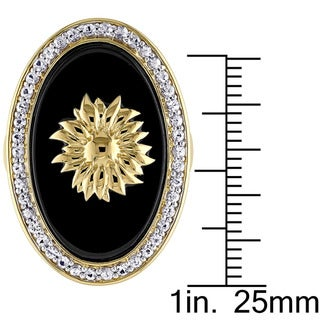 V1969 ITALIA Black Agate and White Sapphire Logo Sunflower Ring in 18k Yellow Gold Plated Sterling Silver