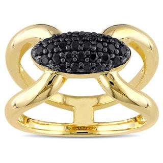 V1969 ITALIA Black Sapphire Mystique Ring in 18k Yellow Gold Plated Sterling Silver