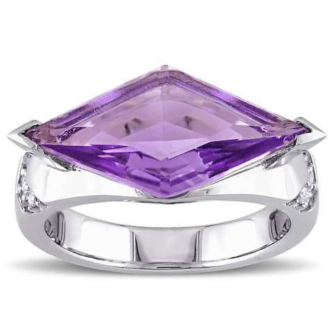 Miadora Amethyst and White Sapphire Prism Ring in Sterling Silver - Purple