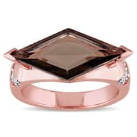 V1969 Italia Smokey Quartz and White Sapphire Prism Ring in Rose Gold Plated Sterling Silver