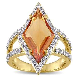 V1969 Italia Citrine And White Sapphire Prism Ring In Yellow Gold Plated Sterling Silver