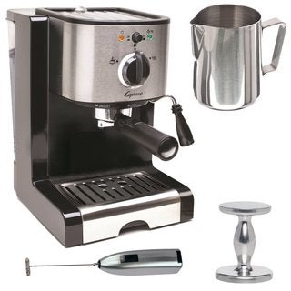 Capresso EC100 Pump Espresso and Cappuccino Machine Bundle + Knox Milk Frother, Frothing Pitcher + Espresso Tamper