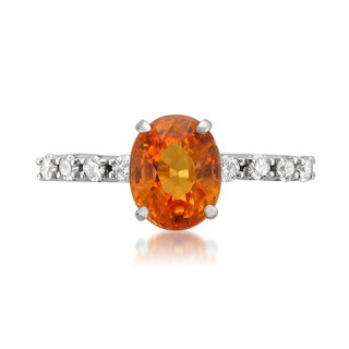 Montebello 14k Gold Natural Orange Garnet and Diamond 3 3/8ct TGW IGI Certified One-of-a-Kind Ring (H-I, SI2-I1)