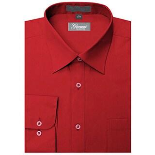 Giovanni Men's Apple Red Convertible Cuff Dress Shirt