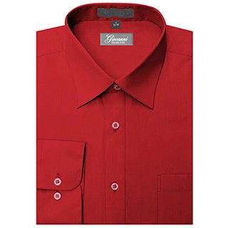 Giovanni Men's Apple Red Convertible Cuff Dress Shirt