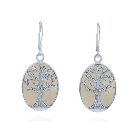 La Preciosa Sterling Silver Mother of Pearl Tree of Life Oval Dangle Earrings