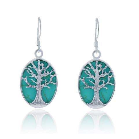 La Preciosa Sterling Silver Turquoise Tree of Life Oval Dangle Earrings