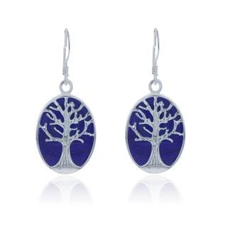 La Preciosa Sterling Silver Blue Lapis Tree of Life Oval Dangle Earrings