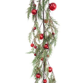 6 Ft. Faux Cypress Garland With Red Ornaments