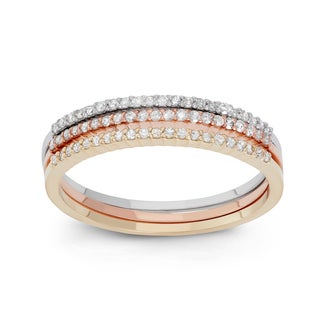 Gioelli 10k Tricolor Gold 1/3ct TDW Diamond Tri-Colored Pave Ring