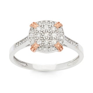 Gioelli 10k Two-tone Gold 1/3ct TDW Diamond Cluster Ring