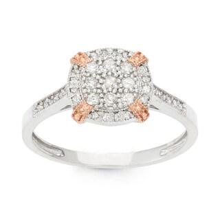 Gioelli 10k Two-tone Gold 1/3ct TDW Diamond Cluster Ring