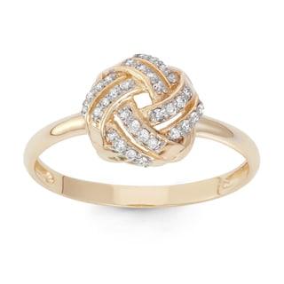 Gioelli 10k Yellow Gold 1/5ct TDW Diamond Knot Ring
