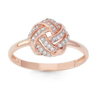 Gioelli 10k Rose Gold 1/5ct TDW Diamond Knot Ring (H-I, I1-I2)