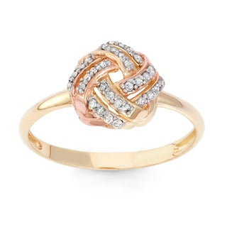 Gioelli 10k Tricolor Gold 1/5ct TDW Diamond Knot Ring (H-I, I1-I2)