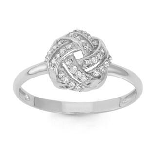 Gioelli 10k White Gold 1/5ct TDW Diamond Knot Ring