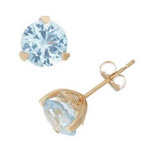 Gioelli  10k Yellow Gold Created Aquamarine and Diamond Accent Stud Earrings (H-I, I1-I2)
