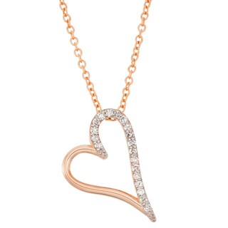 Gioelli 10k Rose Gold 1/6ct TDW Diamond Heart Necklace