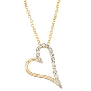 Gioelli 10k Yellow Gold 1/6ct TDW Diamond Heart Necklace
