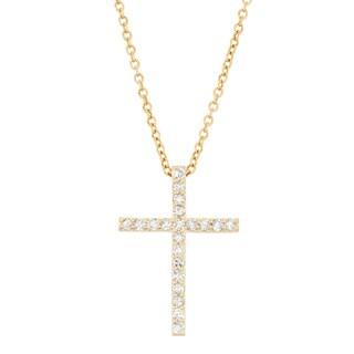 Gioelli 10k Yellow Gold 1/3ct TDW Diamond Cross Necklace (H-I, I1-I2)