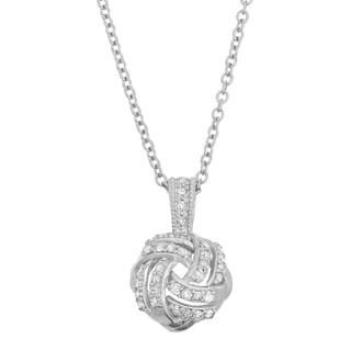 Gioelli 10k White Gold 1/5ct TDW Diamond Love Knot Necklace