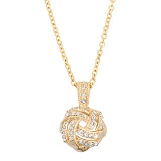 Gioelli 10k Yellow Gold 1/5ct TDW Diamond Love Knot Necklace