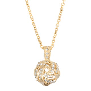 Gioelli 10k Yellow Gold 1/5ct TDW Diamond Love Knot Necklace
