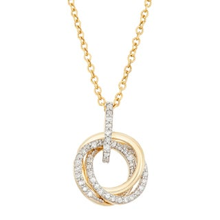 Gioelli 10k Yellow Gold 1/4ct TDW Diamond Interlocking Circles Necklace