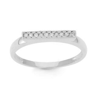 Gioelli 10k White Gold 1/10ct TDW Diamond Milgrain Ring (H-I, I1-I2)